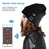 Security Bluetooth Beanie Hat + TouchScreen Gloves, Knitted Music Hat Built-in Stereo Speakers Winter Women and Man Hat for Outdoor Sports, Skiing ,Running, Skating, Walking, Christmas Gifts(Black)