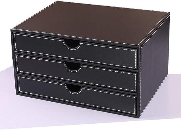 LXYWJJ Carpetas Carpeta de cajones de Escritorio de Tres Niveles, archivador de Cuero Creativo, Caja de Almacenamiento de Archivos de Oficina de múltiples Capas Caja de Archivo (Color : Negro): Amazon.es: Hogar