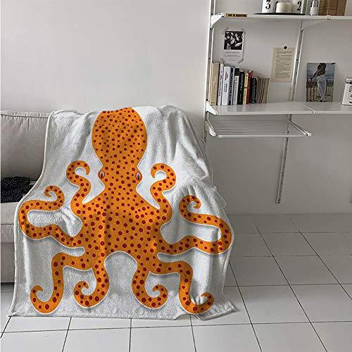 Throw Blanket Extra Large, Cute Spotty Octopus Pattern in Vivid Colors Marine Monster Kids Nursery Theme Print, Weave Pattern Extra Long Blanket 90x70 Inch Orange