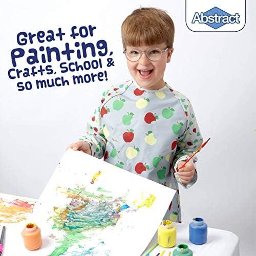 Premium Quality Microfiber with Vinyl Lining Feeding and More Medium Apple Print Long Sleeve Waterproof Bib for Painting 2 Pockets Abstract Kids Art Smock Apron