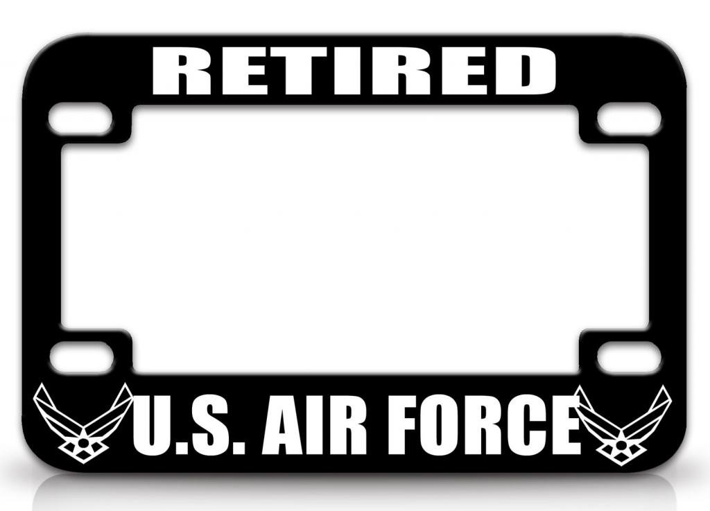 RETIRED US AIR FORCE Air Force Metal MOTORCYCLE License Plate Frame Blc