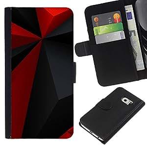 KingStore / Leather Etui en cuir / Samsung Galaxy S6 EDGE / Modelo rojo del Polígono Gris Negro Moderno