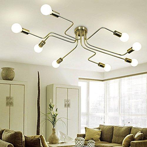 Lingkai Industrial Ceiling Light Metal Art Dining Room Flush Mount Ceiling light Creative Retro 8-Light Fixture Chandeliers E26 Bulb Sockets Pendant Lighting (Bronze)