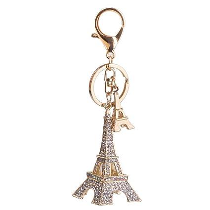 omeny Rhinestone Torre Eiffel Colgante mosquetón llavero ...