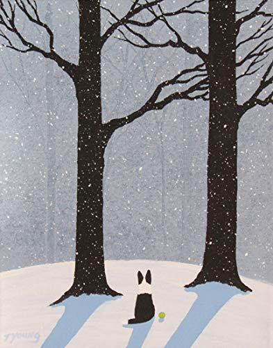 Dog Collie Print - Border Collie Dog LARGE Folk art print by Todd Young FALLING SNOW