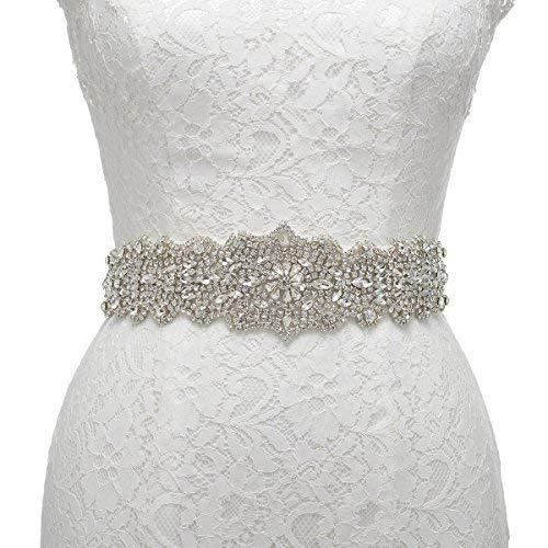 (Remedios Rhinestone Bridal Belt Crystal Wedding Belt Bridesmaid Sash Women Dress Accessories, White)