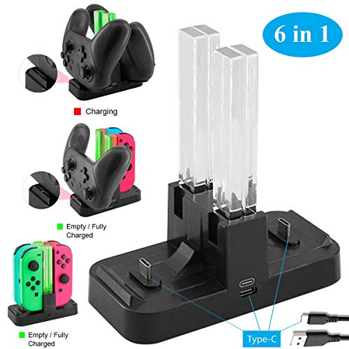 Whiteoak Switch Pro Controller 6 in 1 Charger, for Nintendo Switch Joy-Con Charging Dock Station Stand with LED Indicator,[Upgrade Version] with Free Type C - Case Black Attache Chip