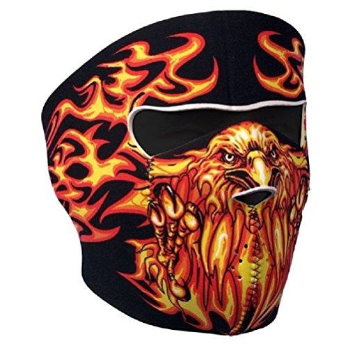Blazing Flames Eagle Orange on Black Neoprene Face Mask Patriotic Biker Ski ()
