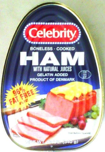 - CELEBRITY HAM COOKED CANNED BONELESS  PRODUCT OF DENMARK 12 OZ