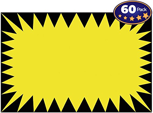 (Retail Genius Price Burst 60 Yellow Sign Pack. Boost Sales with Bright Display Tags. Durable, Easy to Write On Star Cards Are For Yard, Estate & Garage Sale, Fundraiser, Store, Business & Flea Market.)