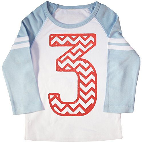 Happy Family Clothing Baby Boys' Third Birthday Chevron Stripe Raglan T-shirt (4T, Light Blue & White)