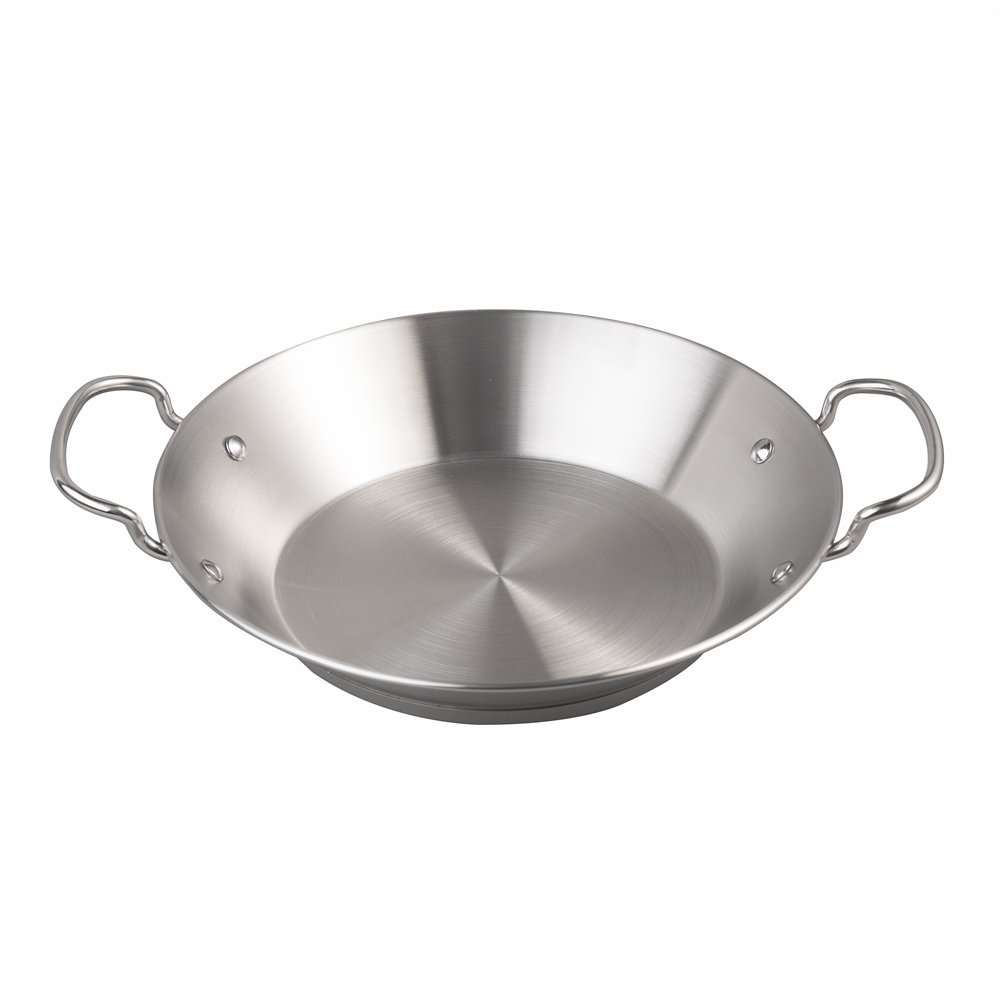 IMEEA® Paella Pan Induction Ready Pan 18/10 Stainless Steel 9.7-inch/24.8cm