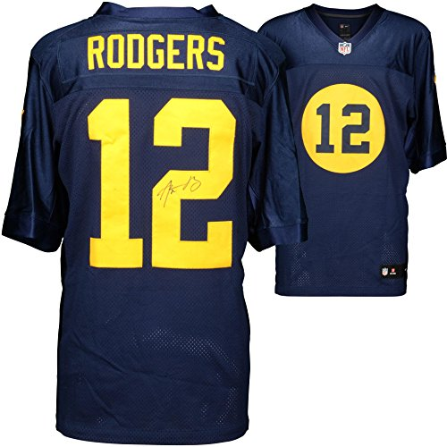 Aaron Rodgers Green Bay Packers Autographed Nike Blue 2014 Throwback Jersey - Fanatics Authentic Certified