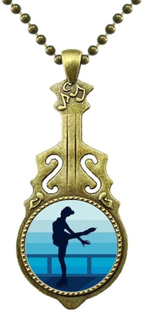 DIYthinker Female Skating Winter Sport Illustration Necklace Antique Guitar Jewelry Music Pendant