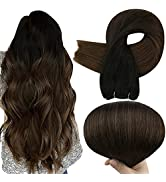 Full Shine 18 Inch Sew In Hair Bundles Balayage Weft Extensions Human Hair Color 1B Off Black Fad...