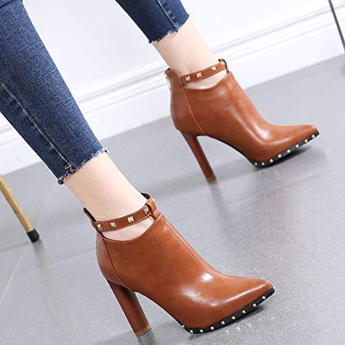 HRCxue Pumps Martin Stiefel Damen Retro dick mit High Heel Stiefel Mode Nieten Damenschuhe und nackte Stiefel