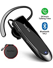 Bluetooth Headset New Bee 24Hrs V4.1 Bluetooth Earpiece Wireless Handsfree Driving Headset with Noise Canceling Mic Headset Case for iPhone Samsung Android Mobile Cell Phone Tablets Office Truck Driver