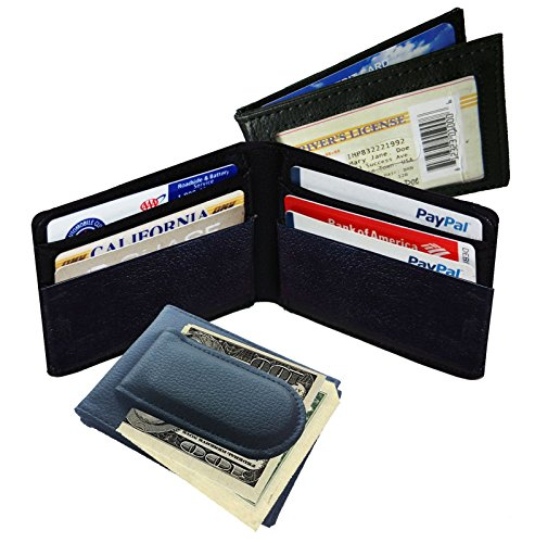 Black Men's Leather Magnetic Money Clip Bifold Wallet Id Card Slim Front Pocket (Magnetic Money Clip Card)