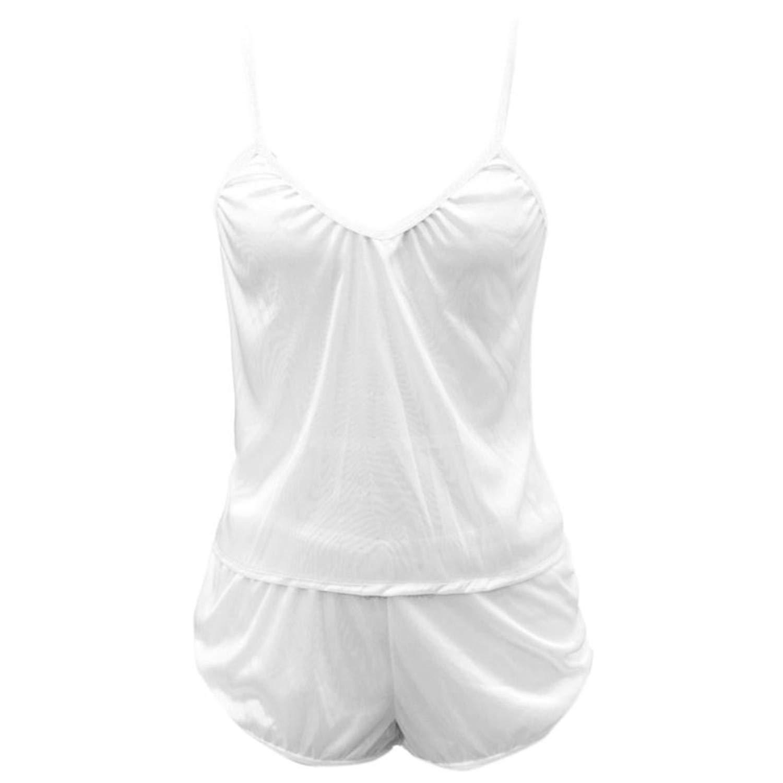 Fashion Deep V-Neck Women Ultra-Thin Imitation Silk 2PCS Pajamas Set See Through Camisole Sleepwear Split Shorts White M