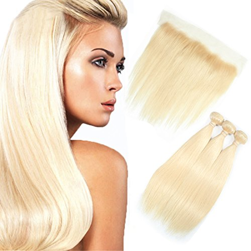 FASHION QUEEN Hair 613 blonde human hair bundles with Frontal Straight Hair Bundles Honey Blonde Bundles with Closure (14