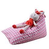 Sameno Stuffed Animal Storage Bean Bag Chair for Kids Toy Storage Soft Pouch Stripe Fabric Chair (H)