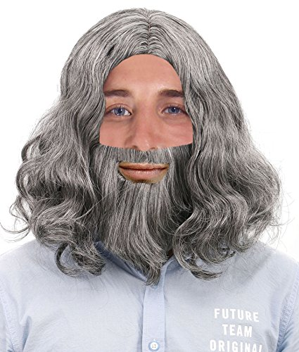 Men's Full Mid-length Wavy Hair & Beard Wig Set for Costume / Cosplay, Grey