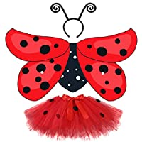 D.Q.Z Girls Bee Ladybug Costume Wing for Kids with Headband Tutu Halloween Party (Ladybug) Red