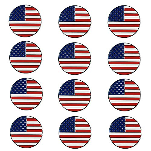 FINGER TEN Golf Ball Markers Assorted Patterns Value 12 Pack Gift, Mark Golf Hat Clip Divot Tool Accessories for Men Women Kids (American Flag)]()