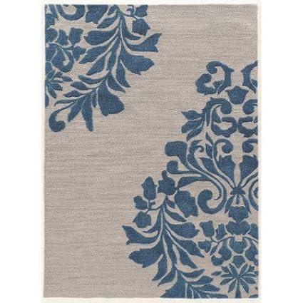 Linon Trio Gray Blue Medalion Natural Fiber Rugs 1.10 x 2.10 Off/White