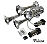 ikig Horns V4008K-2C Loud 139 Decibels Chrome Four Trumpet Air Horn Kit With Dual Direct Drive Air Compressors
