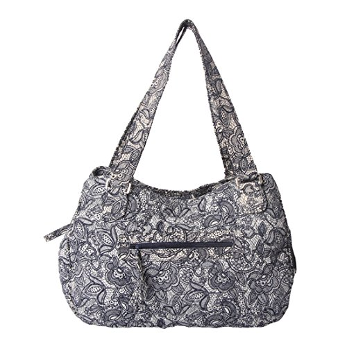 - Quilted Cotton Handle Bags Shoulder Bag (Grey)