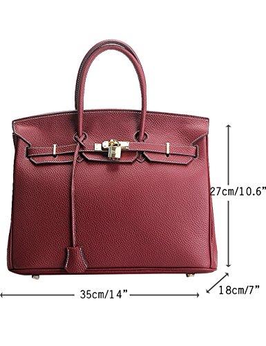 Menschwear Damen Echtes Leder Handtasche Elegant Taschen 25cm Schwarz Wein-rot L UkjqxJvsJ