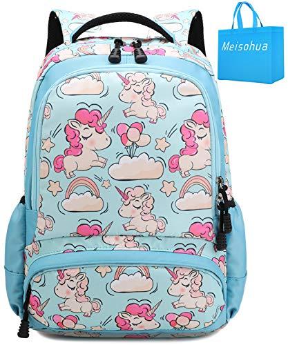 Girls School Backpacks Unicorn Kids School Bags Bookbag for Elementary Travel Daypack (Blue Backpack)
