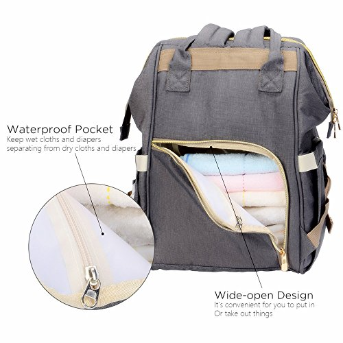 Uigos Baby Diaper Backpack Bag for Women Multi Function Waterproof Water  Wipes Gray Travel Bookbag - Baby Smart Buy