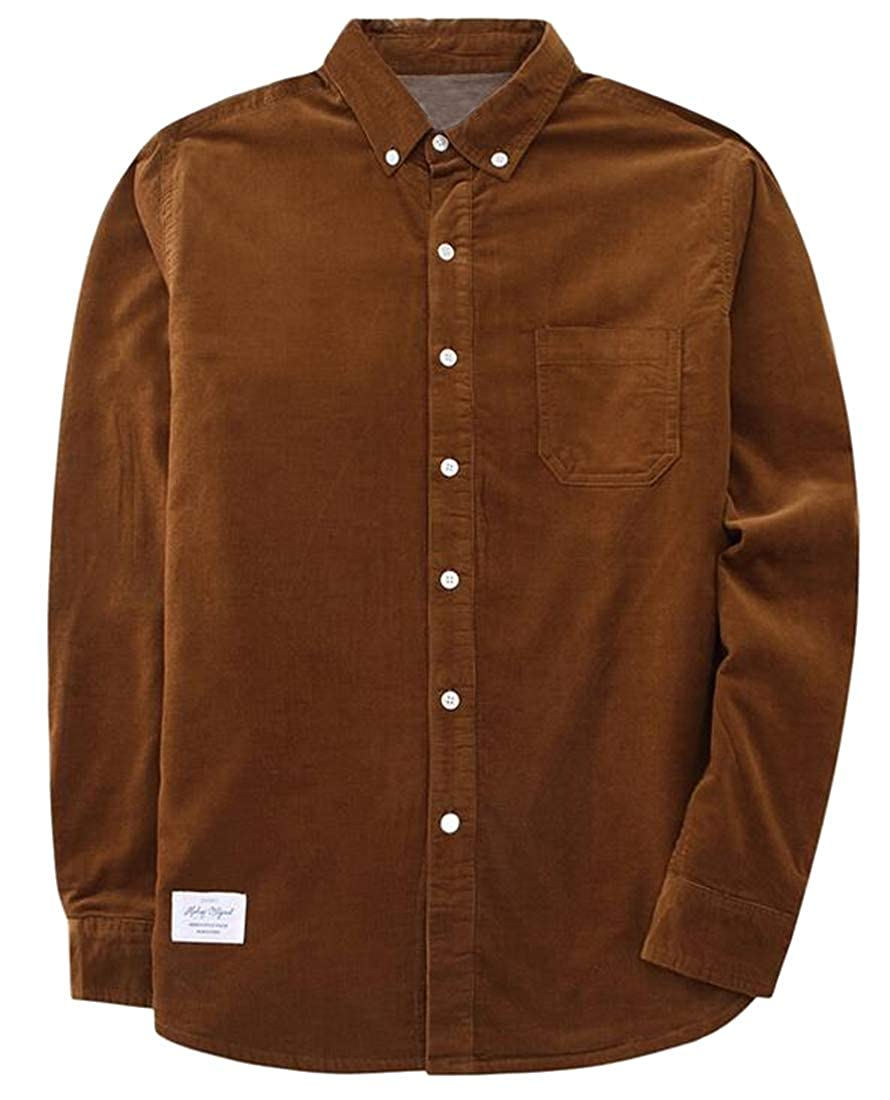 OTW Mens Fleece Casual Warm Cotton Corduroy Button Up Fall Winter Dress Work Shirt