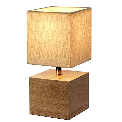 Table Lamp, Hompen Bedside Lamp with Cream Fabric Shade, On-Off In-Line Switch (Natural Lamp Shades)