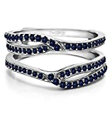 Silver Infinity Wedding Ring Guard Enhancer with Sapphire (0.44 ct. twt.)