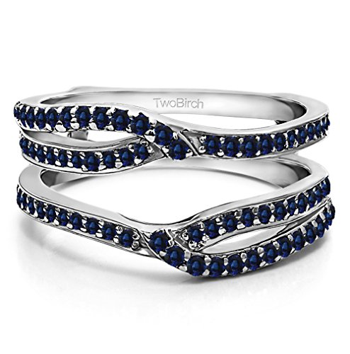 Silver Infinity Wedding Ring Guard Enhancer with Sapphire (0.44 ct. twt.) by TwoBirch