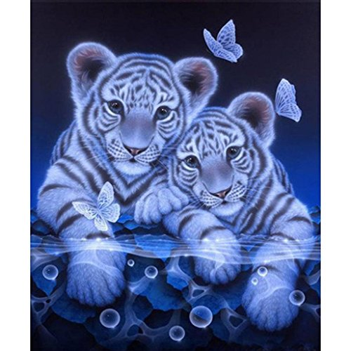 Price comparison product image Yeefant Two Little Tigers Embroidery Paintings No Fading 5D Canvas Rhinestone Pasted DIY Diamond Cross Stitch Home Wall Decor for Bedroom Living Room, 12x14 Inch