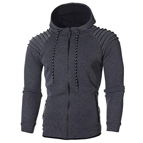 Realdo Men's Sweatshirt Set, Autumn Winter Hoodie Pocket Tops + Bottom Sports Suit Tracksuit(Large,Dark Grey) ()