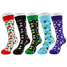 WEILAI SOCKS 5 Pack Mens Fashion Colorful Funky Design Cotton Rich Dress Crew Socks