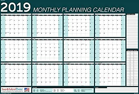 graphic relating to Monthly Planning Calendar identified as 2019 Horizontal Regular monthly Developing Calendar (Teal) Laminated, Erasable Calendar 40 x 27\