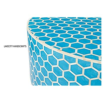 Bone Inlay Honeycomb Round Coffee Table