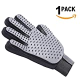 Pet Grooming Glove, Vrchne Gentle Deshedding Efficient Pet Hair Remover Brush, Massage Tool with Enhanced Five Finger Design, Perfect for Dog Cat with Long or Short Fur, Right Hand Gray, 1 Pack