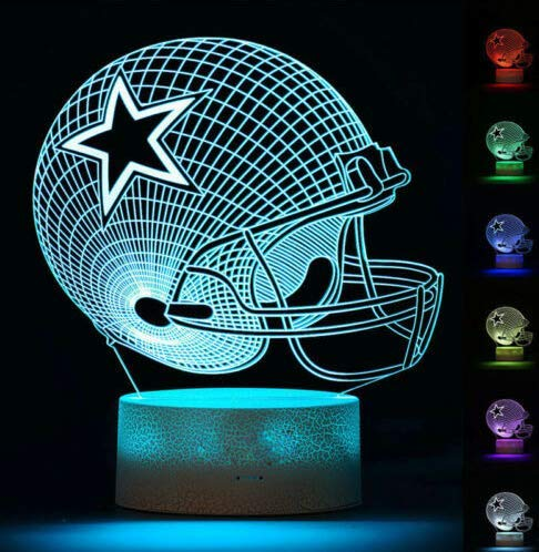 Football Helmet Light - Touch Control Football Team Light Lamp- 7 Color Changing Touch Light Lit Base - Night Light for Boys Men Women for Football Sports Lovers (Dallas Cowboys)