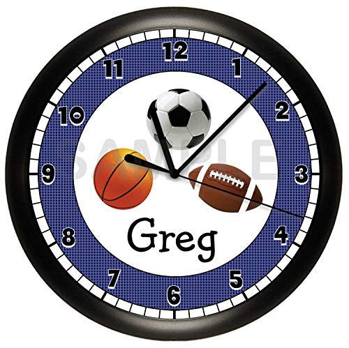 Clock Wall Football 12 Inch - Susie85Electra Personalized Sports Football Basketball Soccer Boys Room Wall Clock Wood 12 Inches Silent