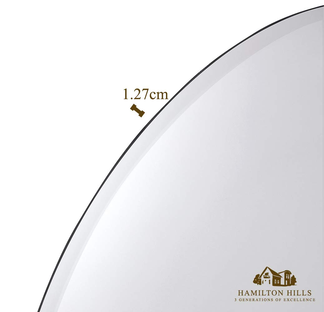 """Large Simple Round 1 Inch Beveled Circle Wall Mirror 