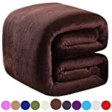 Richave Polar Fleece Blankets Twin Size Brown for The Bed Extra Soft Brush Fabric Super Warm Sofa Blanket 66