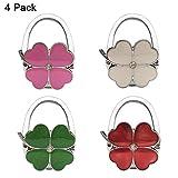 Handbag Hanger,FOME Set of 4 Foldable Purse Hook Purse Table Hook Holder Four-Leaf Clover Shape Bag Hanger Hook 4.52x1.77in Mixed Color