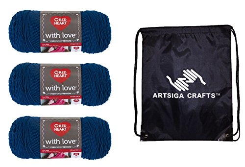 - Red Heart with Love Yarn (3-Pack) Peacock E400-1505 Bundle with 1 Artsiga Crafts Project Bag